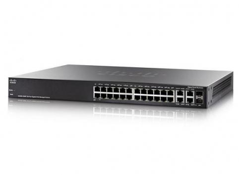 24 10/100/1000 ports (24 PoE+ ports with 195W power budget) + 2 Gigabit copper/SFP combo + 2 SFP ports