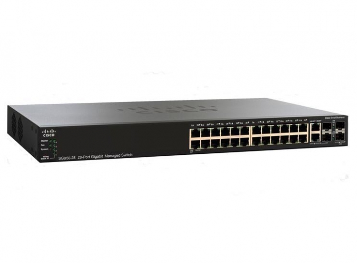 Cisco SG350-28 28-port Gigabit Managed Switch 26 ports RJ45 + 2 SFP slots + 2 combo mini-GBIC