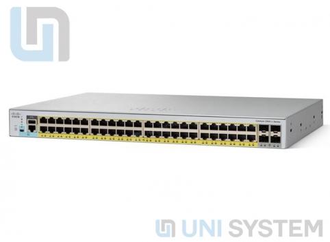 WS-C2960L-SM-48TS Cisco Catalyst 2960L 48 port 10/100/1000, 4 x 1G SFP LAN Lite