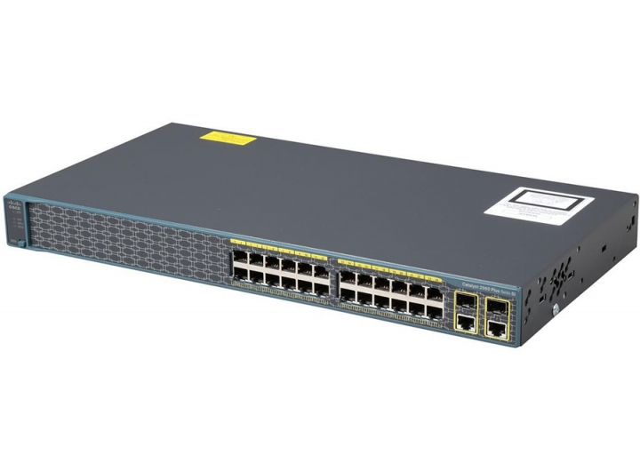 WS-C2960+24PC-S Cisco catalyst 2960 Plus Switch 24 10/100 PoE + 2 T/SFP, LAN Lite